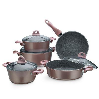 9 Pcs Toscana Granitec Cookware Set