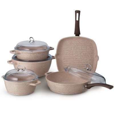 9 Pcs Sahara Granitec Cookware Set